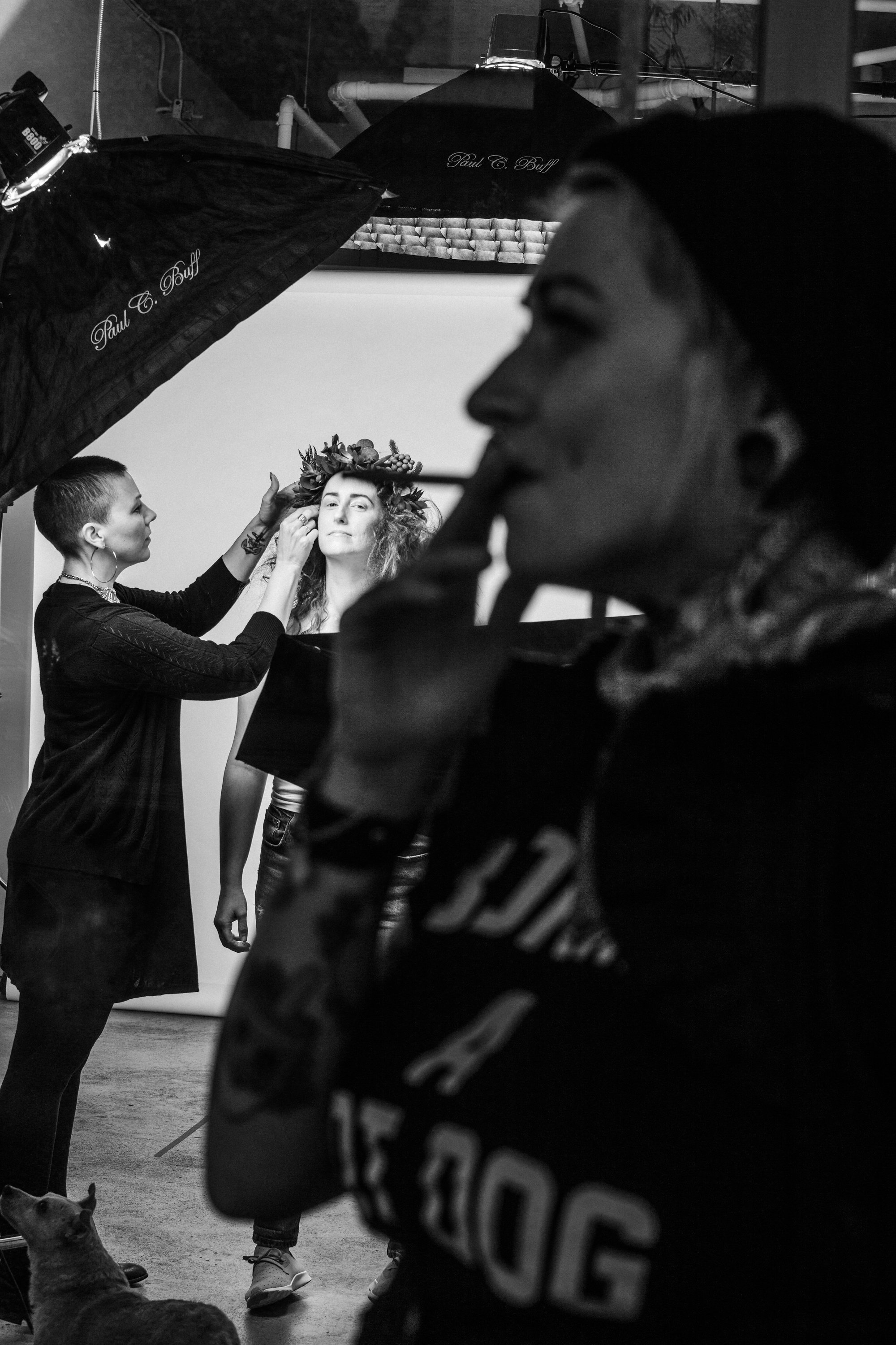 BTS shot from outside the salon. Bex Pfeifer in foreground. Myself and model in background.