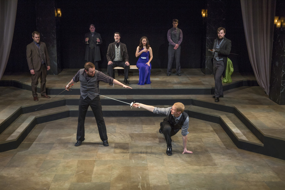 Bryce Kemph, Jason Shipman, Kathy Logelin, Troy Schremmer, Amy Herzberg, Nick Savin, Grant Goodman, James Taylor Odom in Hamlet (2014). Photo by Beth Hall.