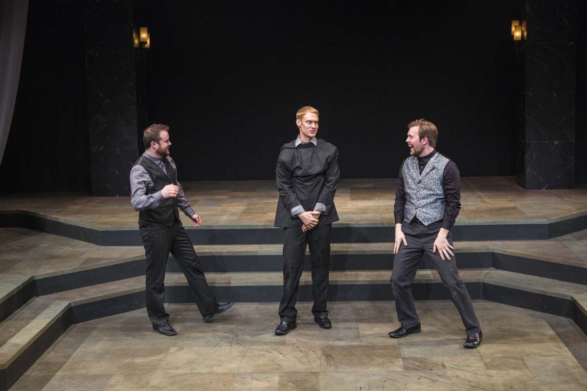 Bryce Kemph, Grant Goodman, and James Taylor Odom in Hamlet (2014). Photo by Beth Hall.