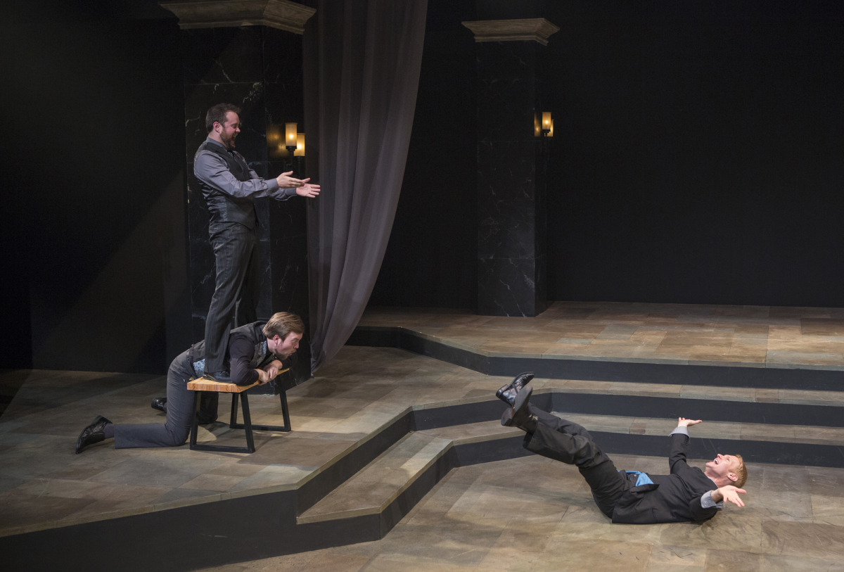 Bryce Kemph, James Taylor Odom, and Grant Goodman in Hamlet (2014). Photo by Beth Hall.