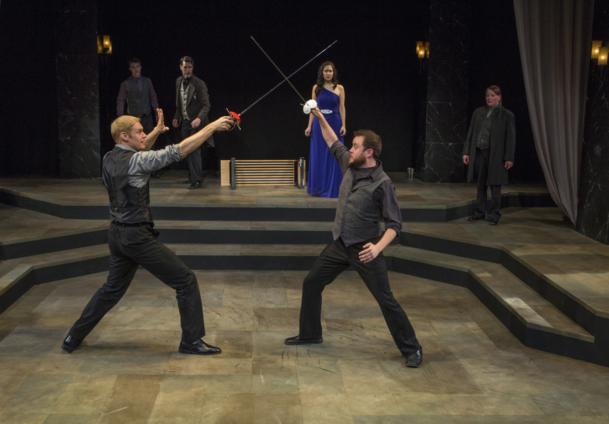 Grant Goodman, Nick Savin, Troy Schremmer, Amy Herzberg, Jason Shipman, Kathy Logelin in Hamlet (2014). Photo by Beth Hall.