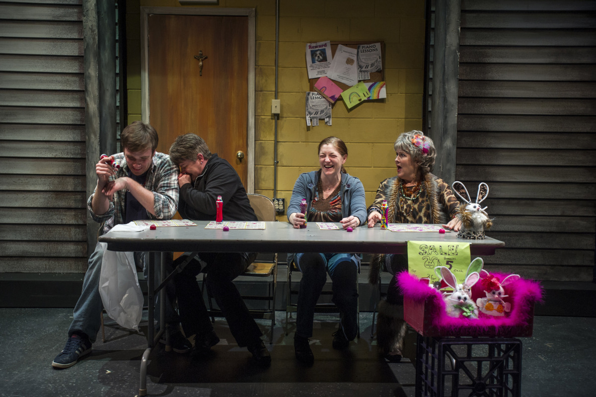 Kieran Cronin, Lauren Halyard, Shirley Hughes, and Rebecca Harris in Good People (2014). Photo by Beth Hall.