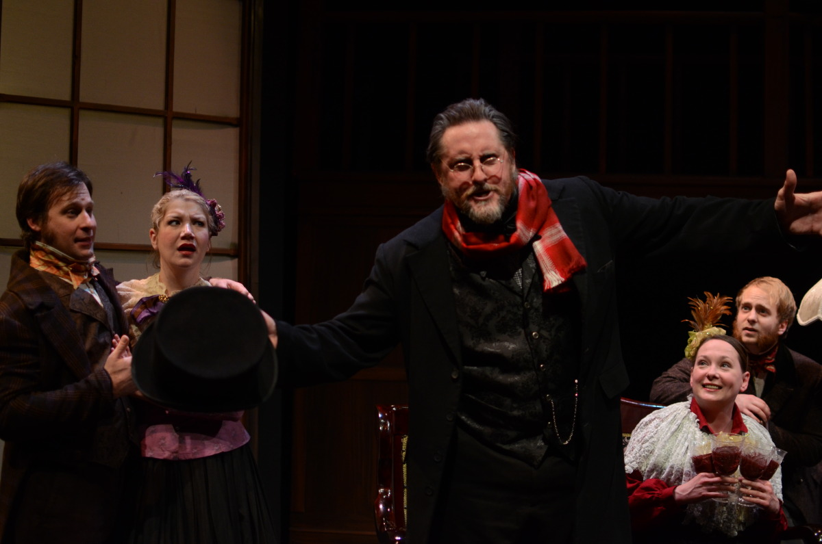 Justin Scheuer, Jenny Guy, Jeffrey Baumgartner, Kathy Logelin, and Nate Stahlke in A Christmas Carol (2013). Bettencourt Chase Photography.