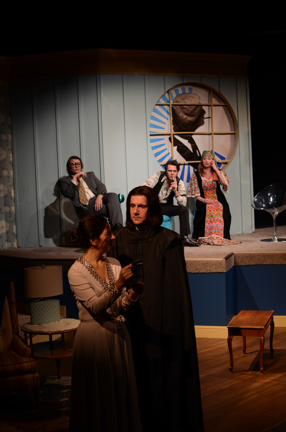 John T. Smith, Amy Herzberg, Steven Marzolf, Kristopher P. Stoker, and Kathy Logelin in The Spiritualist (2013). Bettencourt Chase Photography.
