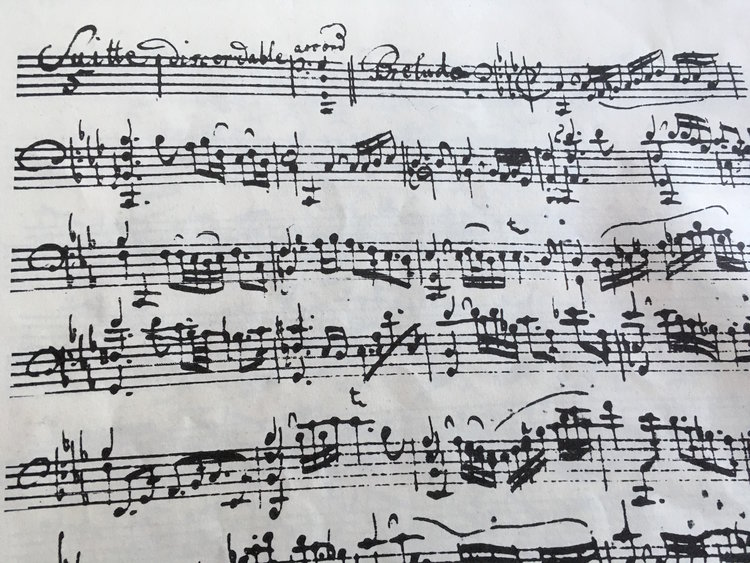 The beginning of the 5th suite for violoncello without bass by J.S. Bach.
