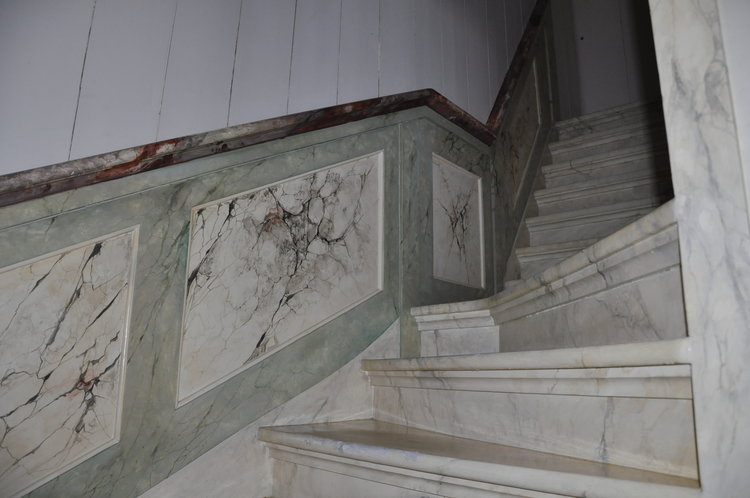 Beautiful marble painting on wood by Helmer Hut.