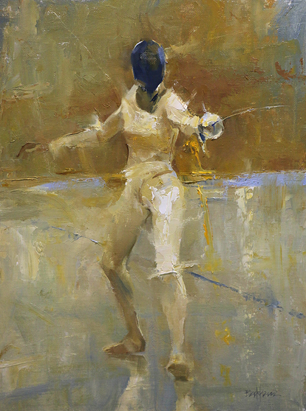 "Fencer 16"" x 12"" oil Highlands Art Gallery  SOLD"