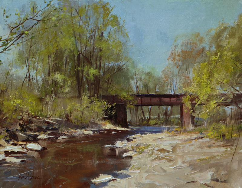 """The Train Trestle at Alexauken Creek 11' x 14"" oil Kenn Backhaus Fine Art (contact artist) SOLD"