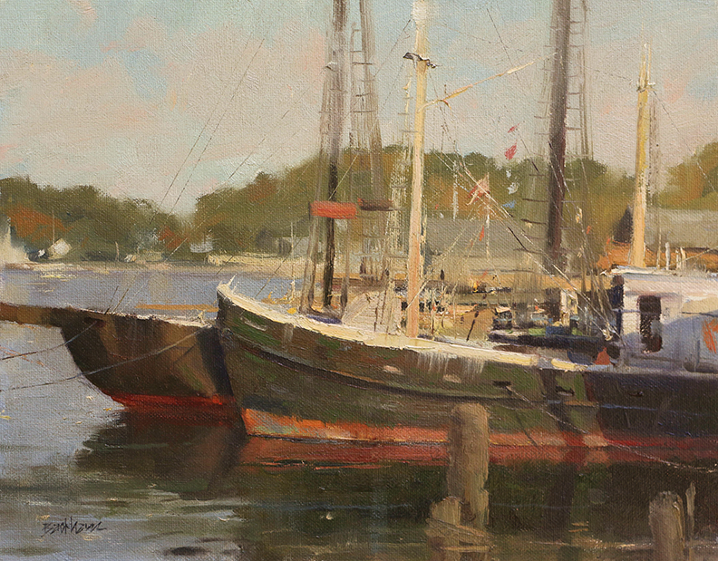 """Resting in the Harbor"" 11"" x 14"" oil  Highlands Art Gallery"