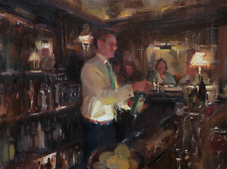 """Good times at the Swan"" 12"" x 16"" oil"