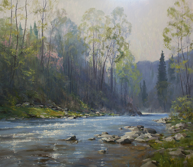 """Spring on the Tohickon"" 39"" x 45"" oil/linen"