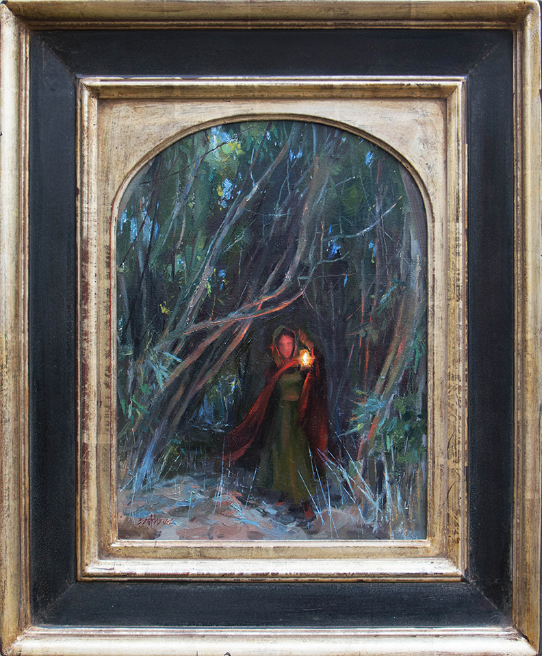 """Out of the Shadows"" 16"" x 12"" oil   American Impressionist Society Small Works Show  case"