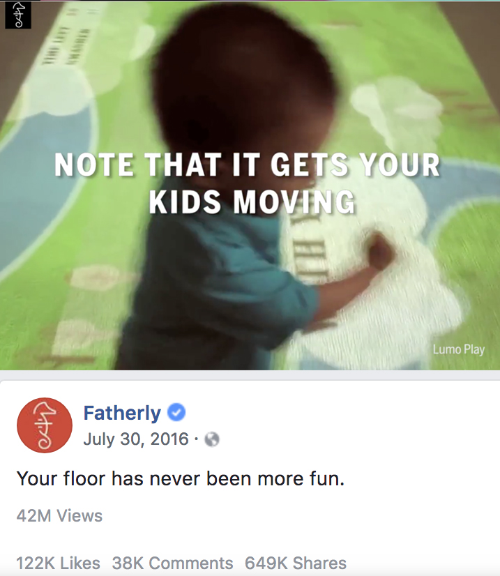 Fatherly, an online parenting magazine,  made Lumo Play a recognizable household brand overnight .