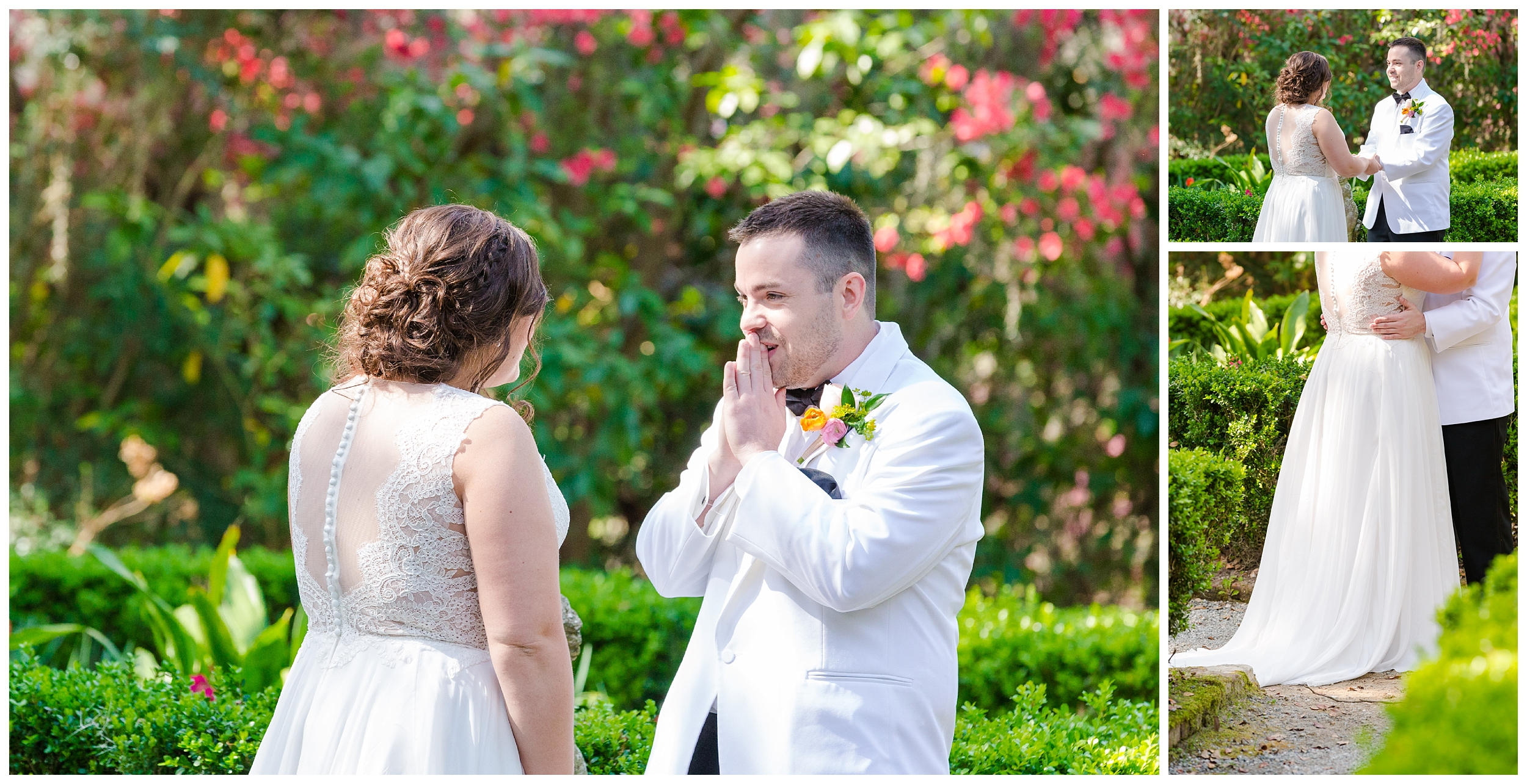 groom sees bride for the first time on wedding day in flowerdale garden