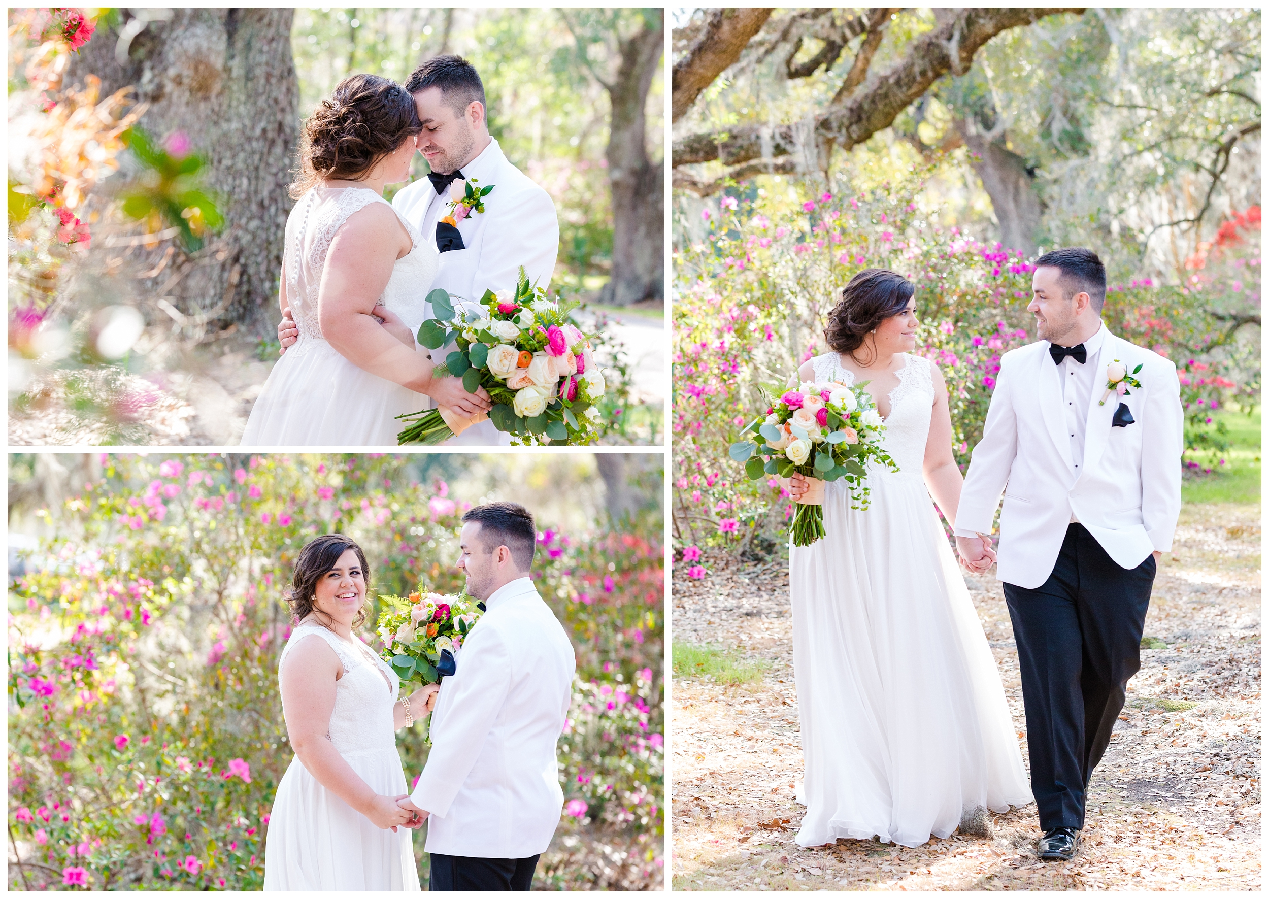 bride and groom portraits under the avenue of oaks