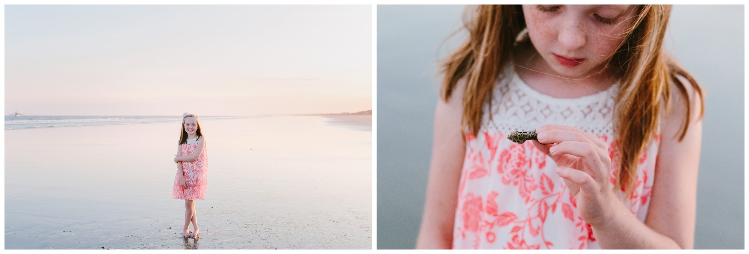 older sister taking portraits and looking for shells