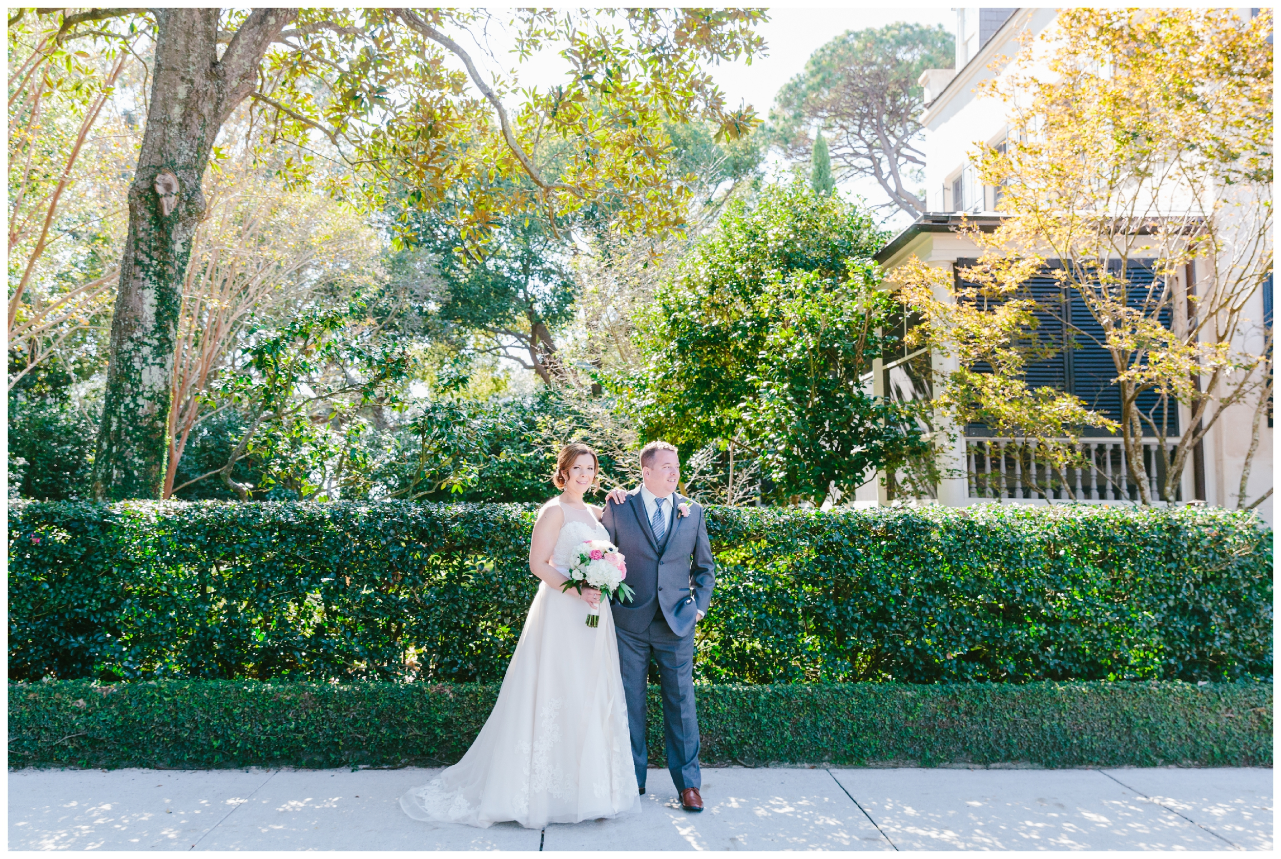 bride and groom portraits using the natural light filtered through the trees