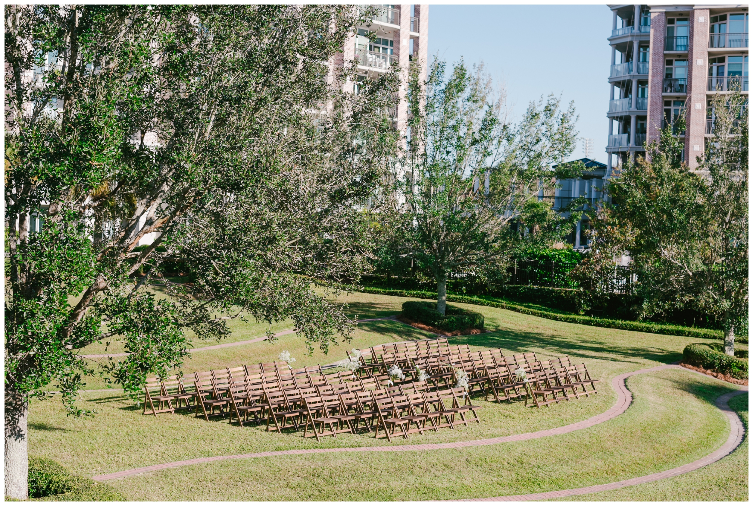 ceremony set up on the lawn at harbor side east in mt. pleasant