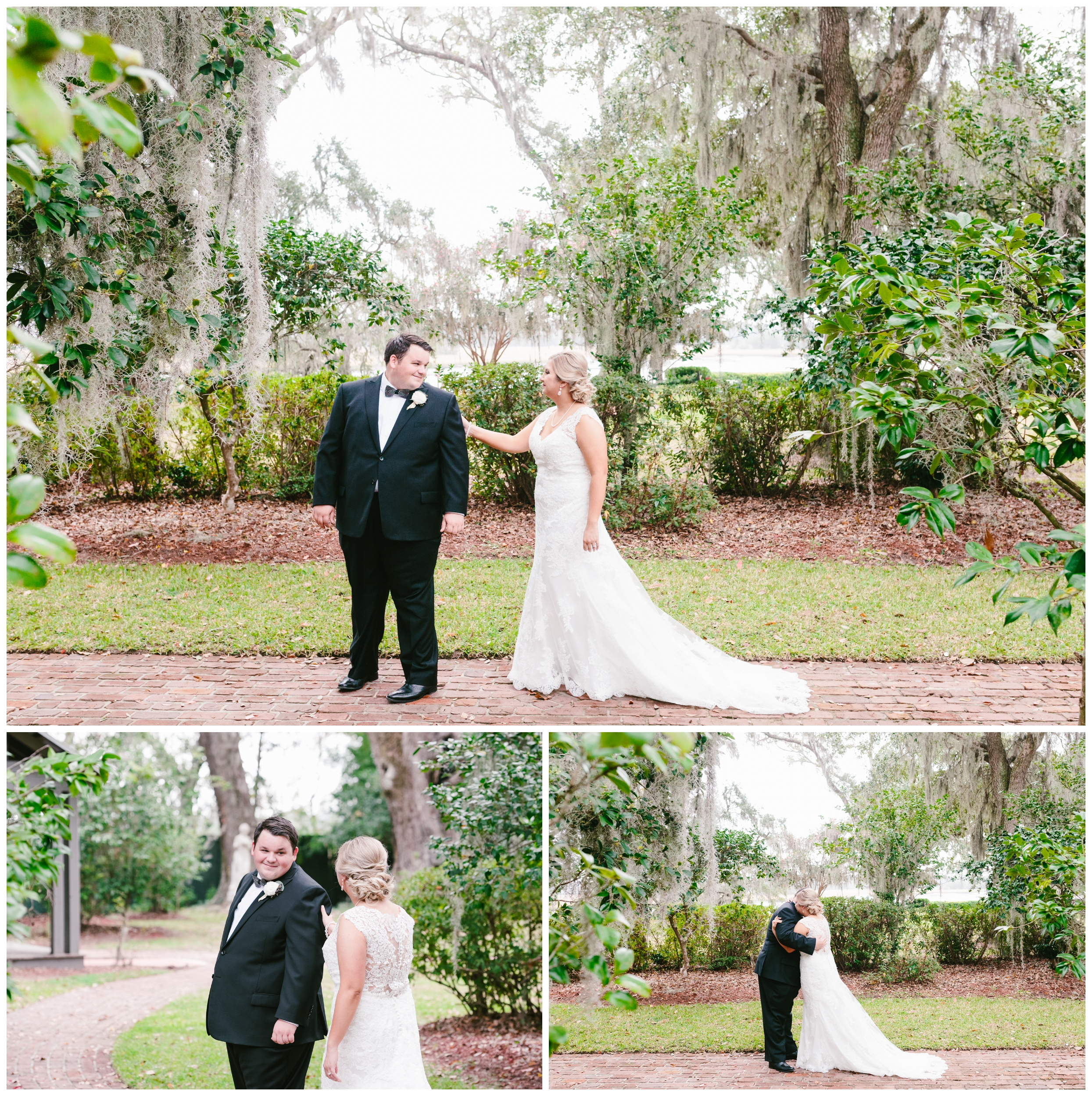 the bride and groom shared a sweet first look at old wide awake park.