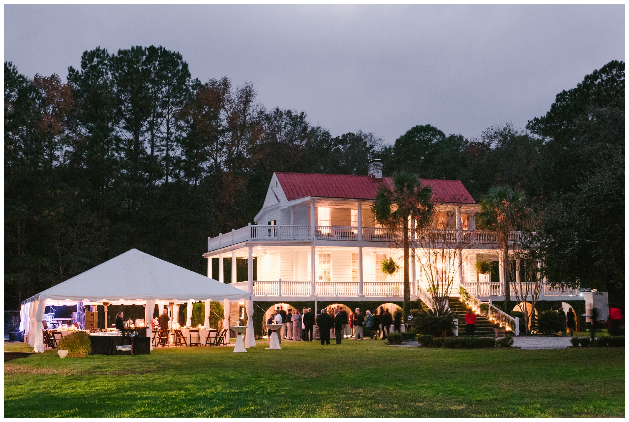 old wide awake plantation is so beautiful lit up at night!
