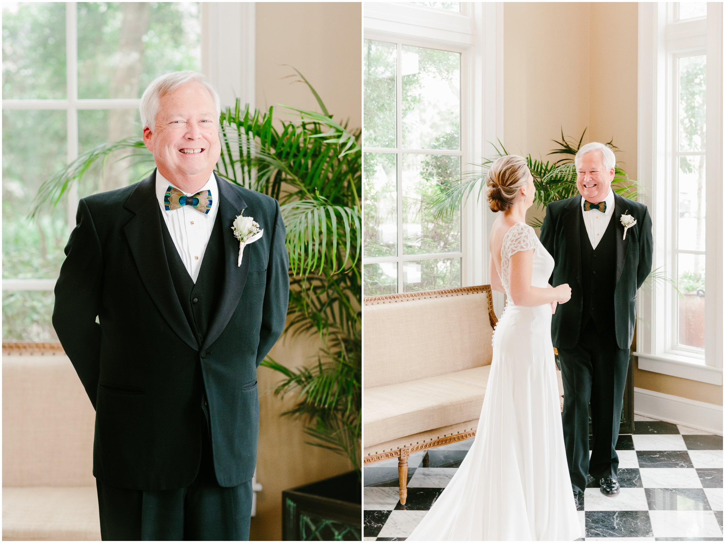 bride sharing a first look with her father at country club of charleston