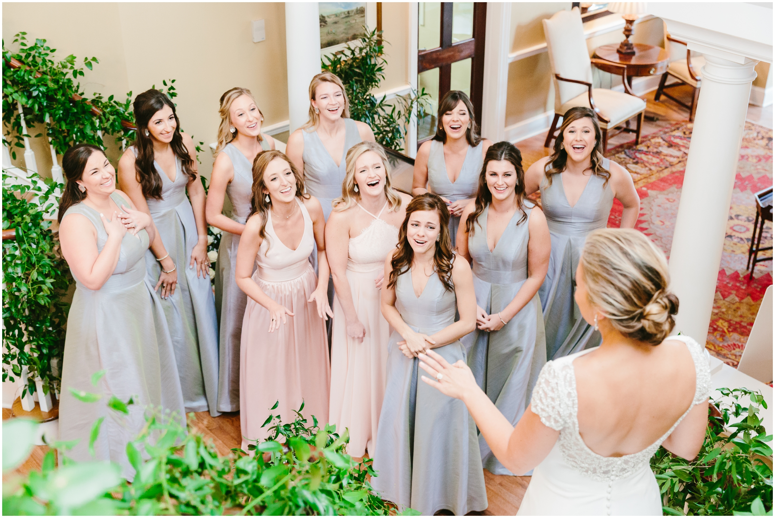 bride having a first look with her bridesmaids