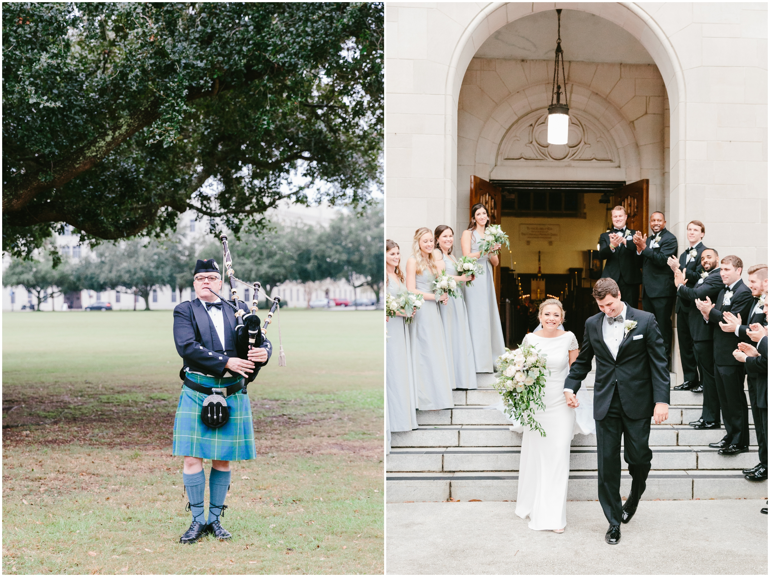 bagpipes play as bride and groom exit the church
