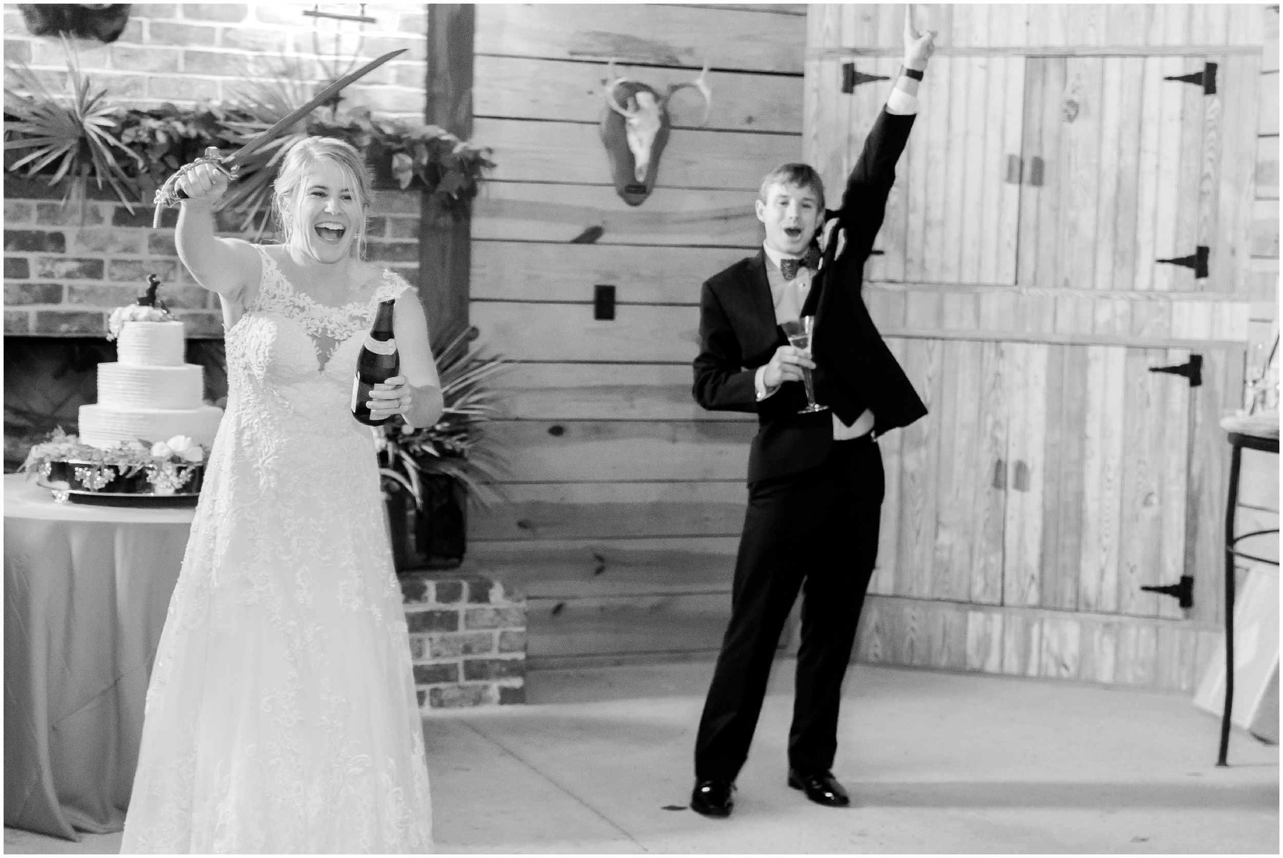 bride sabers her bottle of champagne