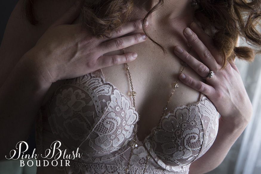 Edmonton Boudoir, close up of a woman's hands touching her chest