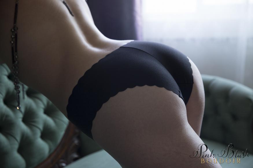 boudoir photos, a woman's butt wearing panties, green couch