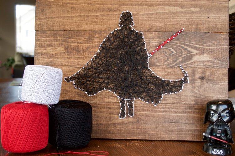 Peonies & Cream - String Art Darth Vader
