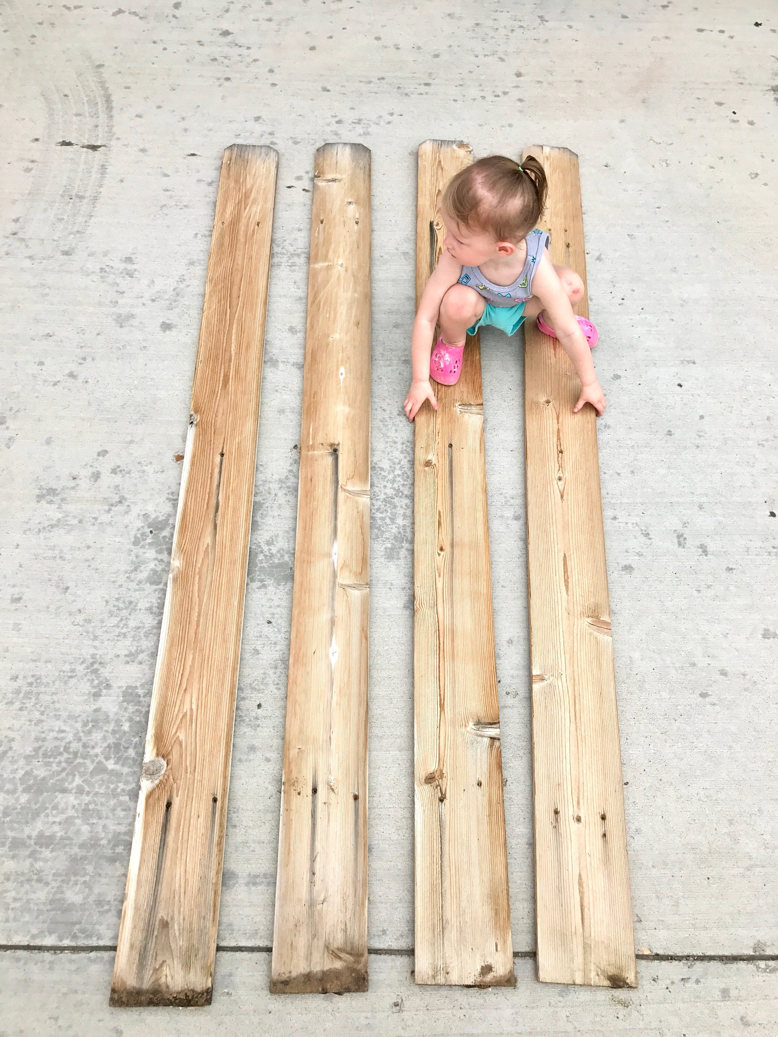 Peonies and Cream - DIY HELLO fence sign fence planks before