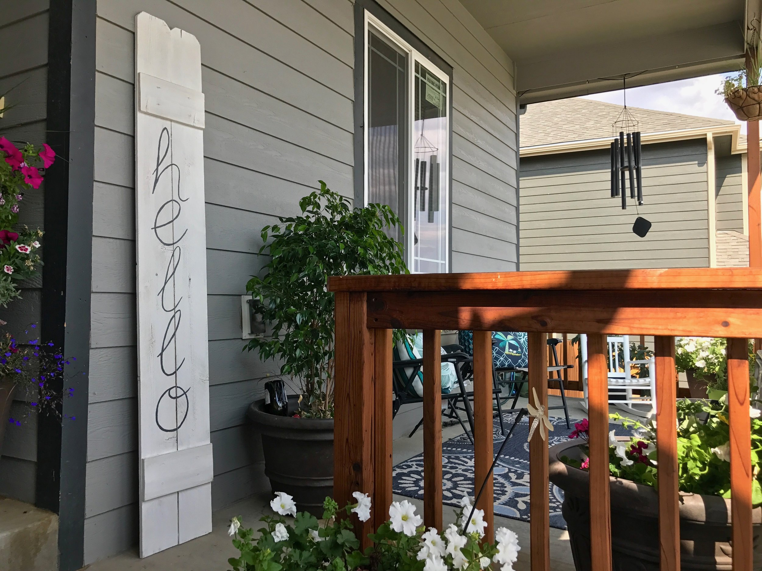 Peonies and Cream - DIY HELLO fence sign front porch display