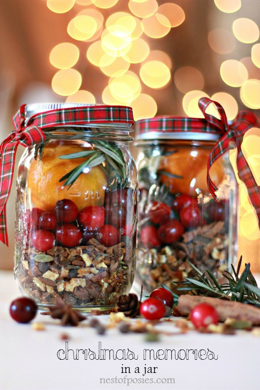 Christmas in a Jar from Nest of Posies on Peonies and Cream - Mason Jar Gift Ideas