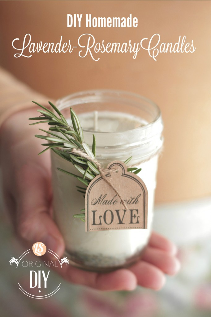 DIY Homemade Lavender-Rosemary Candles from Live Simply - Peonies and Cream - Mason Jar Gift Ideas