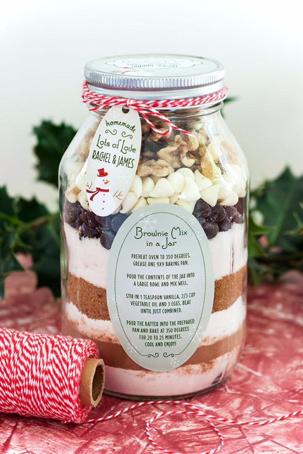 Brownie Mix in a Jar from Evermine - Peonies and Cream - Mason Jar Gift ideas