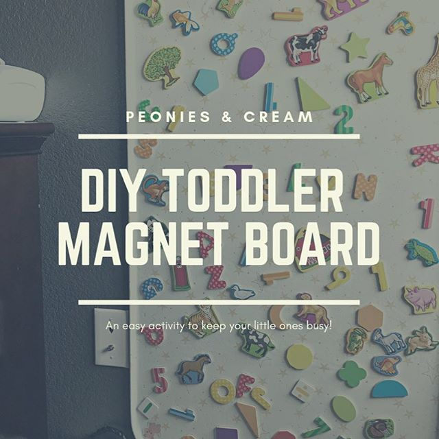 "On the blog today I'm sharing this DIY fabric covered magnet board.⁣⠀ ⁣⠀ Our girls' love the board we have in Evelyn's room, so I knew when we upgraded Addie's nursery to a ""toddler room"", she was going to need one too!⁣⠀ ⁣⠀ I'm so excited to hang this in her room, I often find her alone, playing quietly with Evelyn's and it's always such a nice mommy moment!⁣⠀ ⁣⠀ Check out the blog post, link in my bio!⁣⠀ ⁣⠀ ⁣⠀ ⁣⠀ #peoniesandcream #Blogpost ⁣⠀ #blog #bloglife #blogger⁣⠀ #makersgonnamake #makersofinstagram #makersmovement #diy #toddleractivity #toddlercraft #magnetboard #30mindiy"