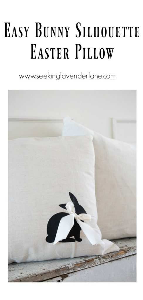 Bunny Silhouette Pillow by Seeking Lavender Lane | on Peonies and Cream