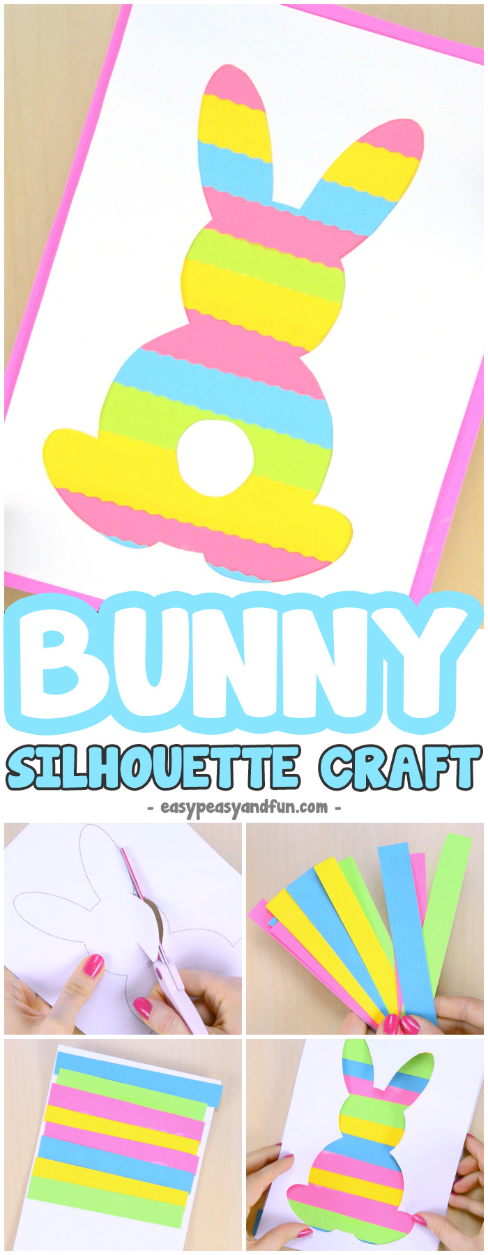 Bunny Silhouette Craft by Easy Peasy and Fun | on Peonies and Cream