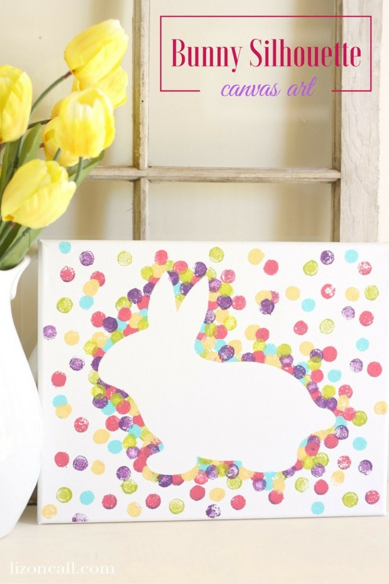 Easter Bunny Canvas Art by Liz on Call | on Peonies and Cream