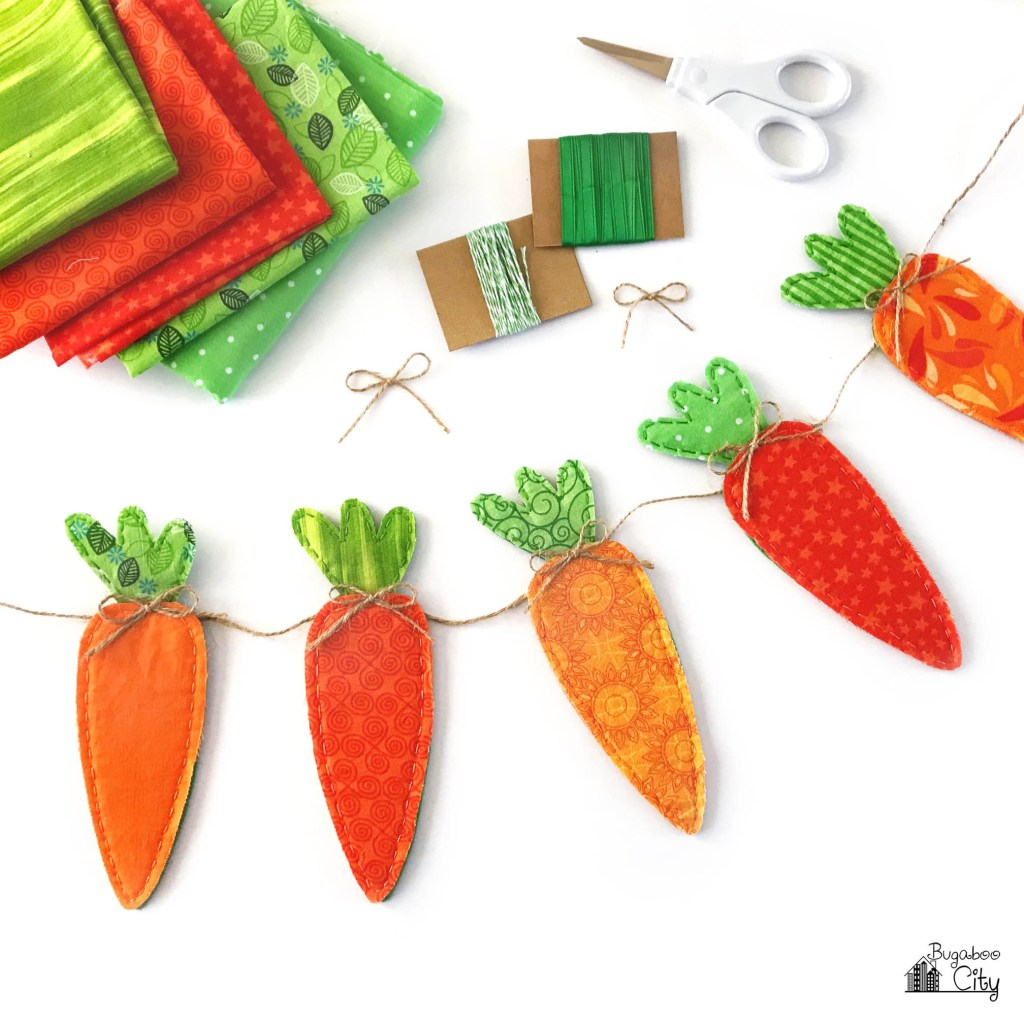 DIY Fabric Carrot Banner from BugabooCity | on Peonies and Cream