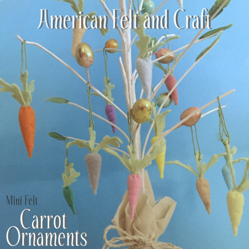 DIY Mini Carrot Easter Tree Ornaments by American Felt & Craft  | on Peonies and Cream