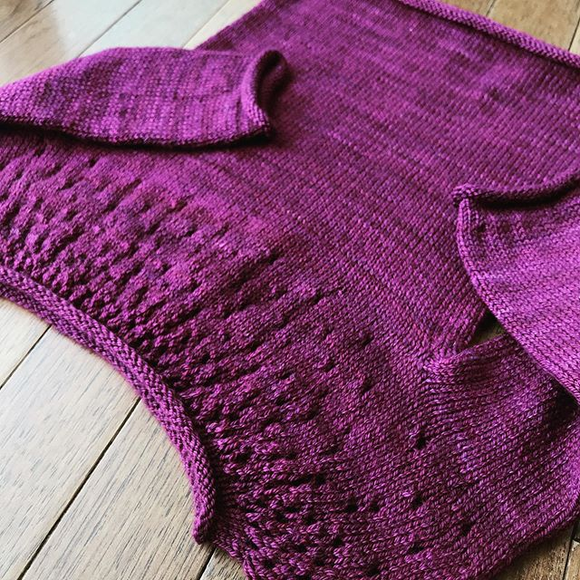 I finally cast off and blocked Addie's #raindropssweater from @tincanknits and I love it! This @sweetgeorgia yarn knit up beautifully and this pattern was so simple and sweet 😊  I probably should have added a bit more to the length of the body to accommodate her toddler belly, but I think I blocked it a bit bigger. We're supposed to have 40degree weather here today, so I'm excited to have her wear it!💕🌧 #knittersofinstagram #handknitsweater #projectsweaterchest #finishedobject #tincanknits #toddlersweater #knitbabyknit #wheremyknittersat #madewithlove