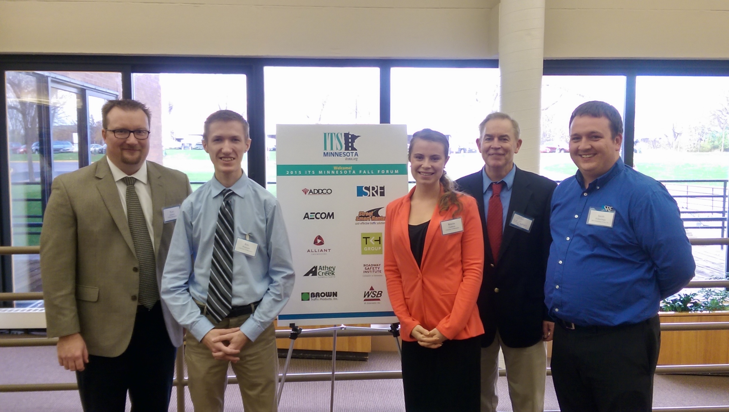 From L to R: 2015 ITS MN President Tom Jensen, Undergraduate Award winners Eric Francen and Kristin Carlson, Scholarship Committee Members Jim McCarthy and Jake Folkeringa.