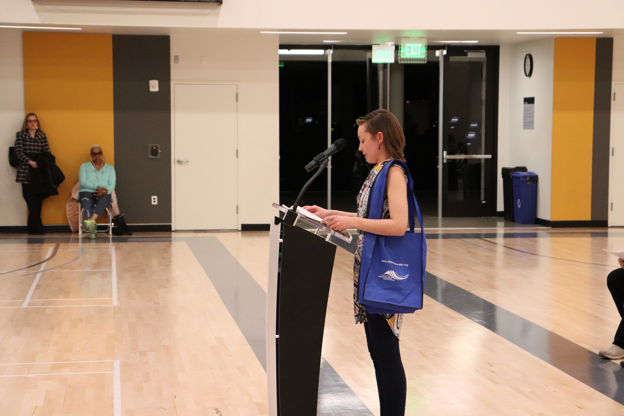 Mallory Hiss, with Cherry Creek Stewardship Partners, presented the awards at the 2019 Science Fair ceremony.