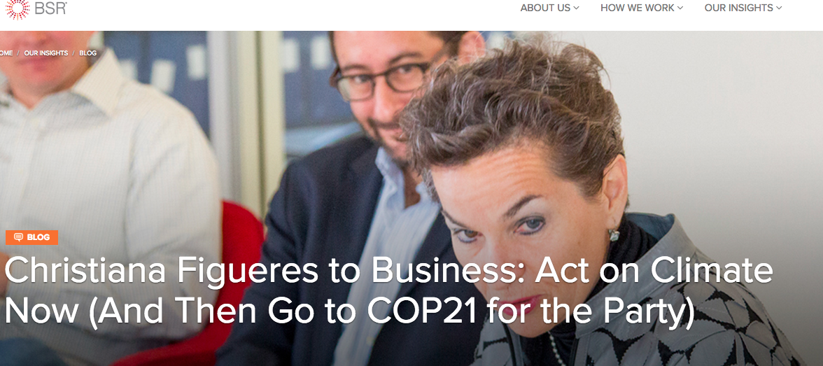 Christiana Figueres to Business: Act on Climate Now (And Then Go to COP21 for the Party)