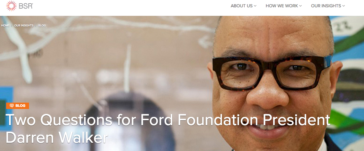 Two Questions for Ford Foundation President Darren Walker