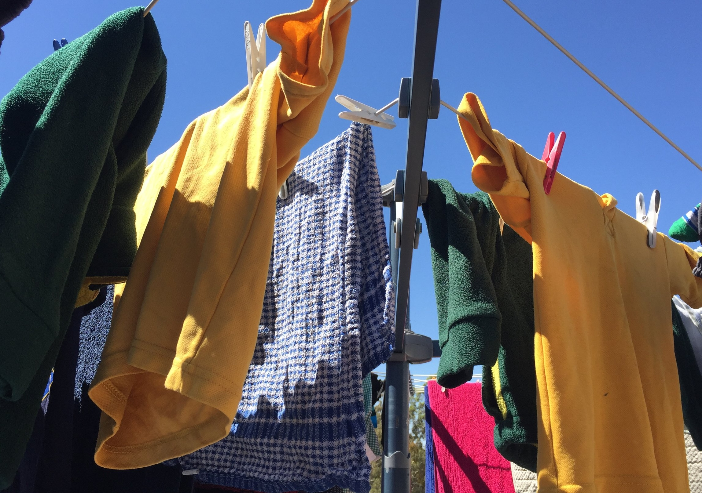 I took a break from doing the laundry to write about gender equality in the home. Here's my family's (clean) laundry, airing.