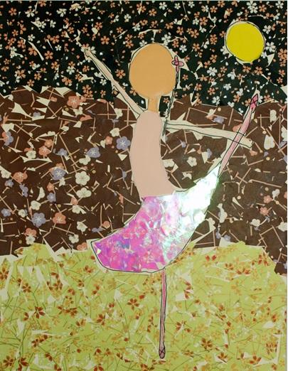 Cara Wang, T  he Ballerina Dancing Through the Night,  24x36, Mixed Media Lofton2nd