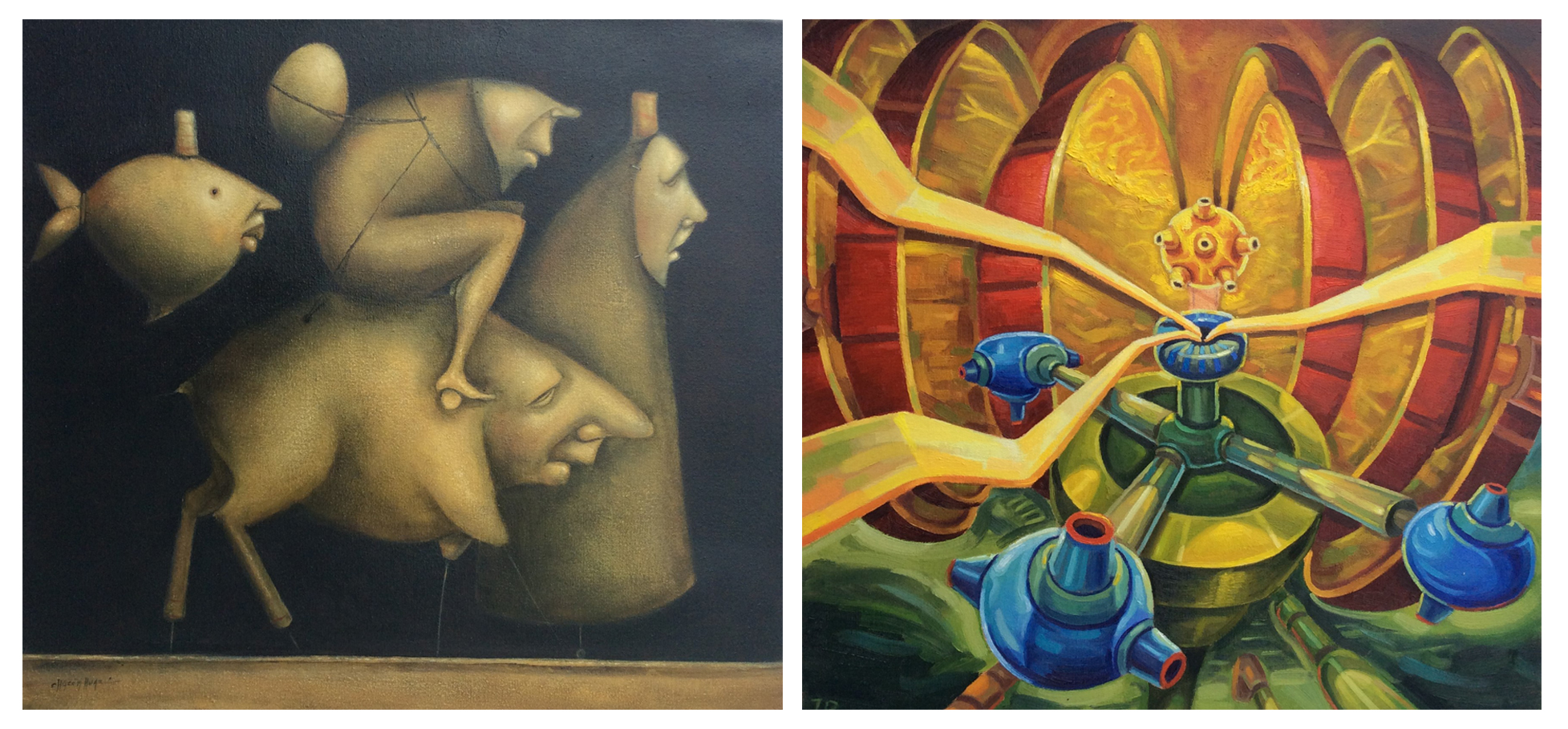 Edson Chacon,  Trotamundos   (Globetrotter) , oil on canvas                  Jorge Ramirez  , Nuclero (Nuevos Fuegos), oil on canvas